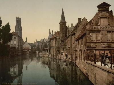 Canal and Belfry, Bruges, Belgium, C.1890-C.1900--Giclee Print