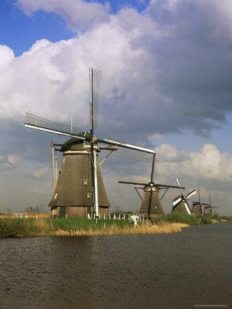 Canal and Windmills at Kinderdijk, Unesco World Heritage Site, Holland-Gavin Hellier-Photographic Print