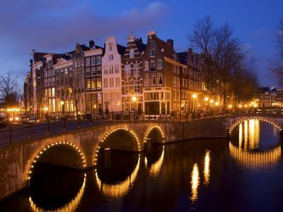 Canal at Night, Amsterdam, Netherlands-Lisa S^ Engelbrecht-Photographic Print