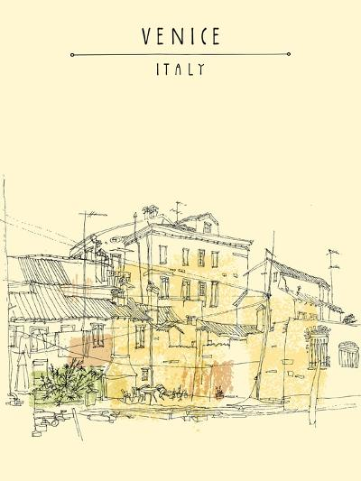 Canal Bank in Venice, Italy. Vertical Vector Vintage Engraved Illustration, Hand Drawn on Paper. Qu-babayuka-Art Print
