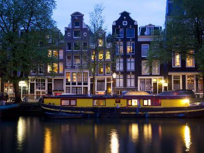Canal Boat and Architecture, Amsterdam, Holland, Europe-Frank Fell-Photographic Print