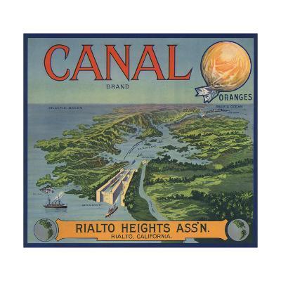 Canal Brand - Rialto, California - Citrus Crate Label-Lantern Press-Art Print