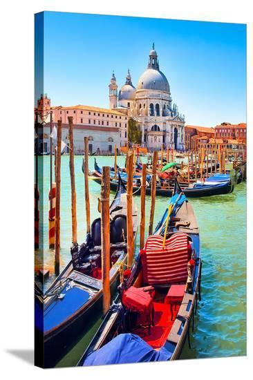 Canal Gondolas & Church Venice--Stretched Canvas Print