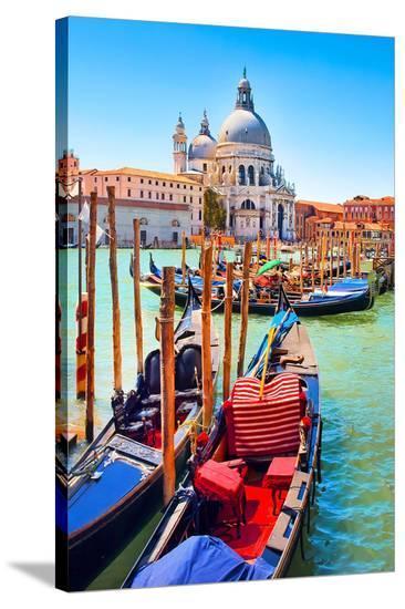 Canal Gondolas & Church Venice--Stretched Canvas Print