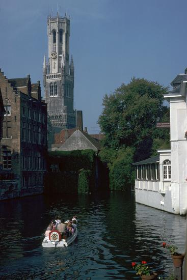 Canal, old houses, and the Belfrey of the Tour Des Halles in Bruges-Unknown-Photographic Print