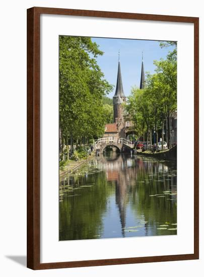 Canal Scene with Bridge, 16th Century East Port Gate Towers, Delft, Holland, Europe-James Emmerson-Framed Photographic Print