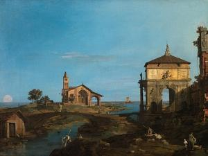 An Island in the Lagoon with a Gateway and a Church, 1743-44 by Canaletto