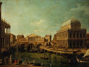 Basilica of Vicenza and the Rialto Bridge by Canaletto