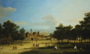 London: the Old Horse Guards and the Banqueting Hall, Whitehall, from St. James's Park, with… by Canaletto