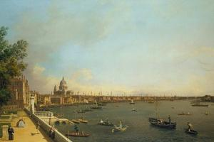 London. the Thames from Somerset House Terrace Towards the City, Ca 1751 by Canaletto