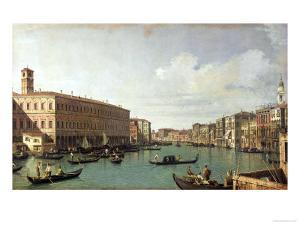 The Grand Canal from the Rialto Bridge by Canaletto