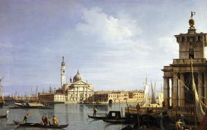 The Island of San Giorgio Maggiore, Venice with the Punta Della Dogana and Numerous Vessels by Canaletto