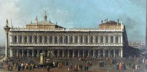 The Library and the Piazetta, Venice, Looking West, with Numerous Figures, circa 1740 by Canaletto