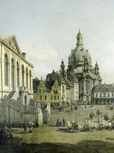 The Neumarkt in Dresden Seen from the Juedenhofe (Detail), 1749 by Canaletto
