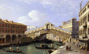 The Rialto Bridge Venice from the South with the Fondamenta Del Vin and the Fondaco Dei Tedeschi by Canaletto