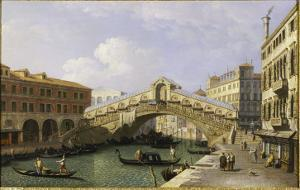 The Rialto Bridge Venice from the South with the Fondamenta Del Vin and the Fondaco Dei Tedeschi by Canaletto