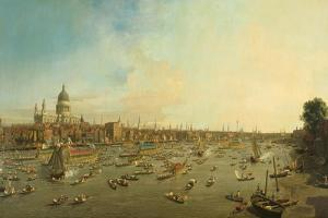 The River Thames with St. Paul's Cathedral on Lord Mayor's Day, c.1747-8 by Canaletto