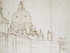 Venice: the Dogana Di Mare and S. Maria Della Salute (Pen and Brown Ink over Black Chalk) by Canaletto