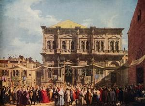 Venice: The Feast Day of Saint Roch, 1735, (1938) by Canaletto