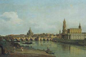 View of Dresden from the Right Bank of the River Elbe Upriver of the Augustusbruecke, 1747 by Canaletto
