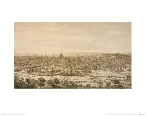 View of London from the North, a Drawing by Canaletto