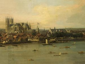 View of the Thames and Westminster Bridge, c.1746/7 (Detail) by Canaletto