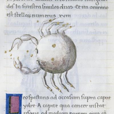Cancer, Miniature from De Astronomia, by Hyginus, Ms, Aldini 490, F 88 V. Italy, 15th Century--Giclee Print