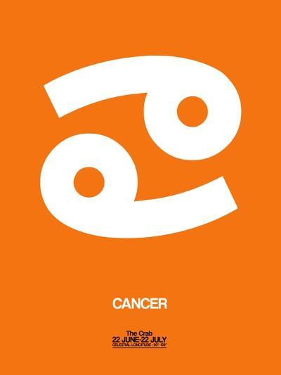 Cancer Zodiac Sign White on Orange-NaxArt-Art Print