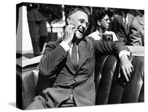 Candid Portrait of President Franklin Roosevelt Speaking to Informally to Greeters at Hyde Park, NY