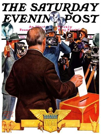 """""""Candidate Voting,"""" Saturday Evening Post Cover, November 7, 1936-Edgar Franklin Wittmack-Giclee Print"""