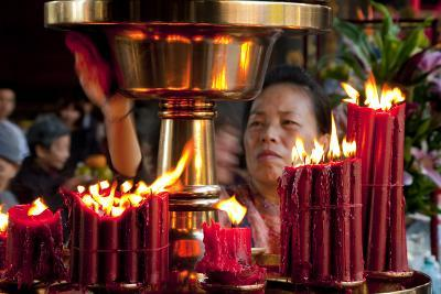Candles In Longshan Temple Taipei-Charles Bowman-Photographic Print