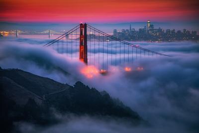 Candy Skies Moody Fog Golden Gate Bridge, San Francisco California Travel-Vincent James-Photographic Print