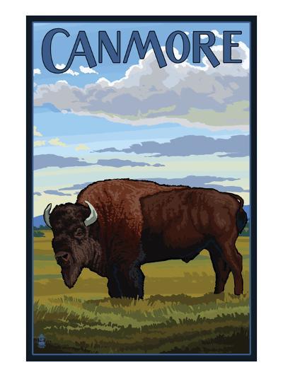 Canmore, Alberta, Canada - Solo Bison-Lantern Press-Art Print