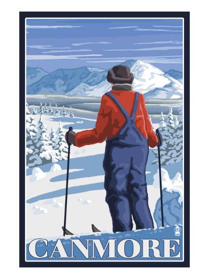 Canmore, Alberta - Skier Admiring View, c.2009-Lantern Press-Art Print