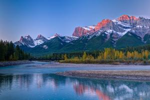Canmore Engine Bridge over Bow River, Three Sisters Mountain, Mount Lawrence Grassi, Canmore, Al...