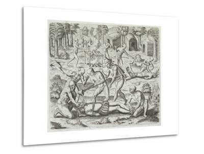 Cannibals in Darien, Panama, Capturing Spaniards, Gottfried, Pub. Merian, Frankfurt, 1631-Theodor de Bry-Metal Print