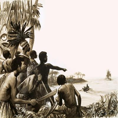Cannibals Try to Stop Herman Melville Leaving the Polynesian Islands--Giclee Print