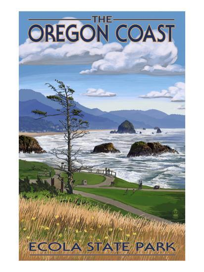 Cannon Beach from Ecola State Park, or, c.2009-Lantern Press-Art Print