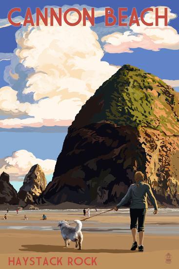 Cannon Beach, Oregon - Haystack Rock-Lantern Press-Art Print