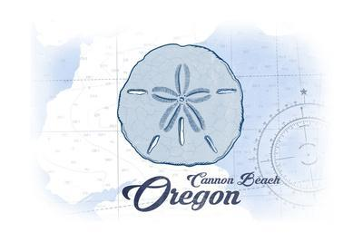 Cannon Beach, Oregon - Sand Dollar - Blue - Coastal Icon-Lantern Press-Art Print