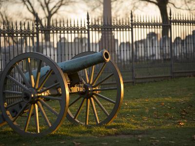 Cannon Outside the Fence at Gettysburg National Cemetery-Michael Melford-Photographic Print