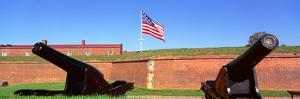 Cannons and Wall at Fort Mchenry National Monument, Baltimore, Maryland