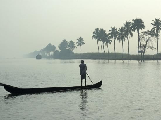 Canoe at Dawn on Backwaters, Alleppey District, Kerala, India, Asia-Annie Owen-Photographic Print