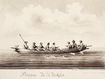Canoe at Island of Sakhalin, Engraving Based on Drawing by Francois-Michel Blondela--Giclee Print