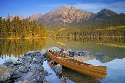 Canoe at Pyramid Lake with Pyramid Mountain in the Background-Miles Ertman-Photographic Print