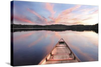 Canoe Bow Lake Sunset Ontario--Stretched Canvas Print