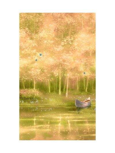 Canoe Floating along Forest--Art Print