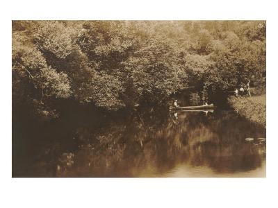 Canoe in Shady Creek--Art Print