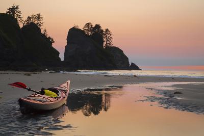 Canoe on a Beach at Sunset, Washington, USA-Gary Luhm-Photographic Print