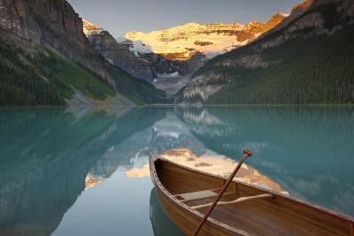 Canoe on Lake Louise at Sunrise-Miles Ertman-Photographic Print